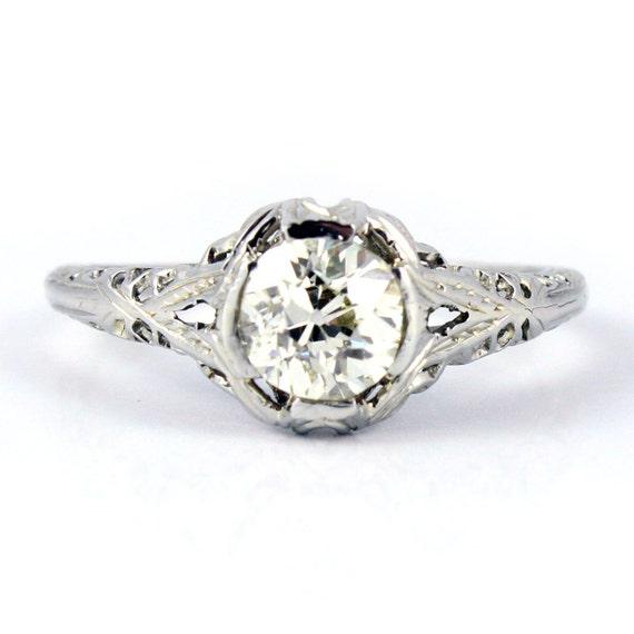18K Antique Art Deco Diamond Filigree Engagement Ring