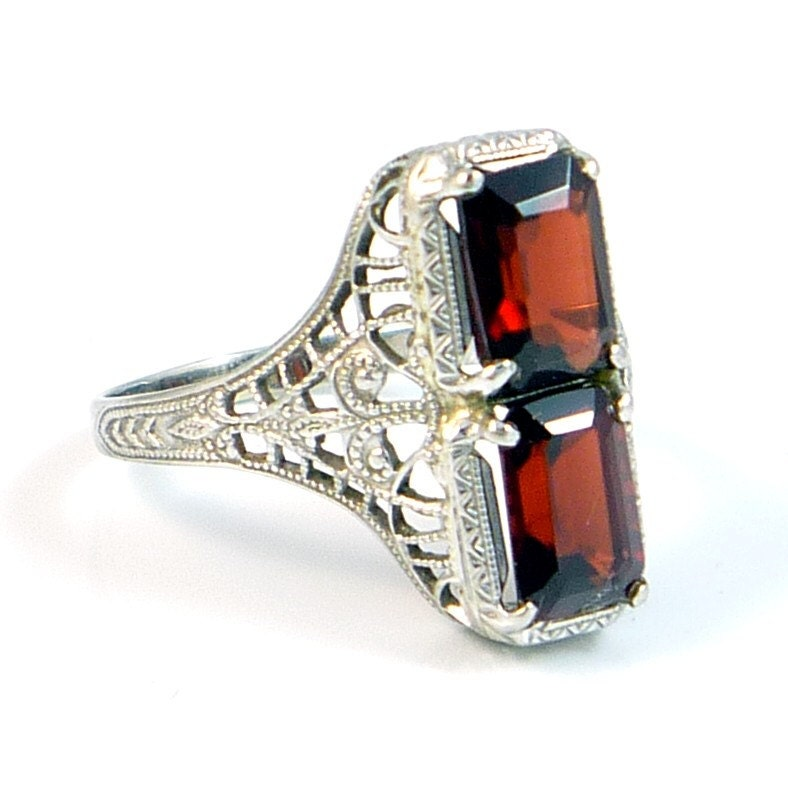 Rare Ostby Barton 10k Antique Art Deco Garnet Filigree Ring