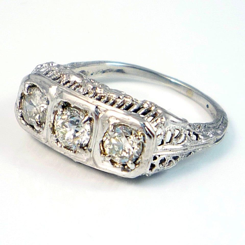 14k Antique Art Deco Three Stone European Cut Diamond Filigree