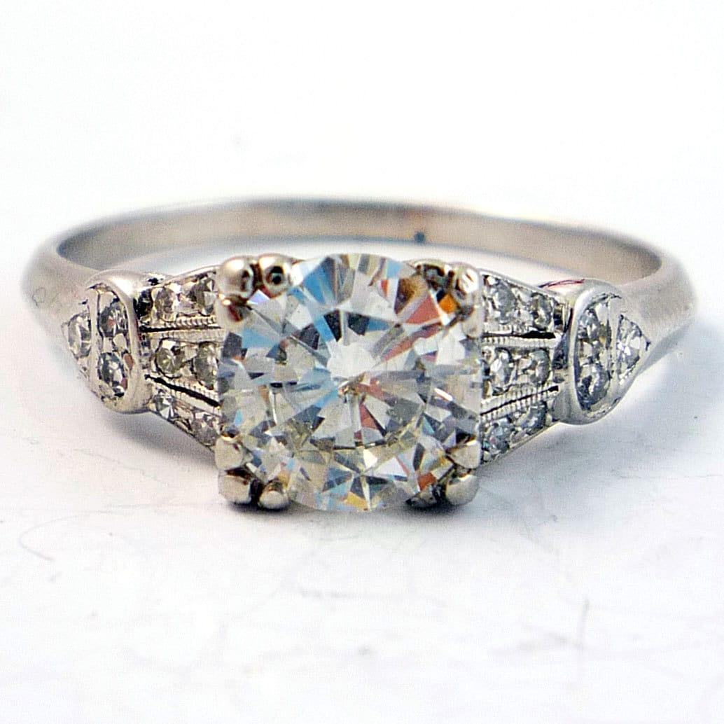 Antique Platinum Edwardian Art Deco Diamond Engagement Ring