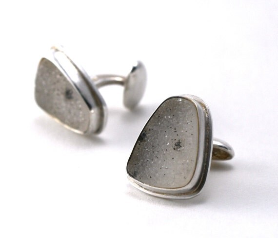 Cuff Links - White Drusy/Druzy and Sterling Silver
