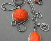 bright orange triple pendant necklace electric orange wearable mobile - jaimejofisher