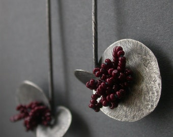 long silver earrings beaded earrings dangle earrings sewn earrings statement earrings brown plum burgundy oxidized silver