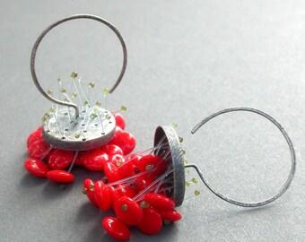 Hot poppy lipstick red bright polyp dangle chandelier earrings oxidized sterling silver statement earrings