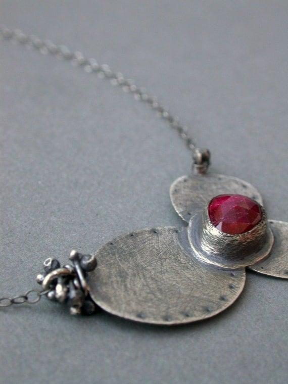 bloom petite necklace pink dainty charm pendant sweet simple fuschia raspberry ruby flower art jewelry everyday sterling silver feminine