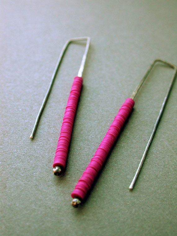 stacked linear column vintage sequin oxidized silver earrings dangle long simple magenta grape fucshia purple everyday jaime jo fisher