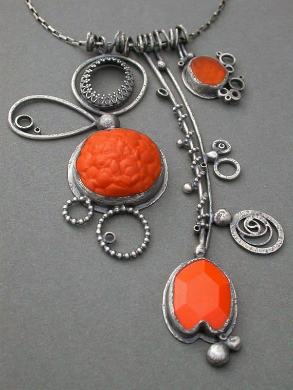 large orange necklace charms pendant sculptural necklace triple pendant necklace electric orange wearable art jewelry jaime jo fisher