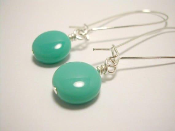 Sea Breeze Aqua Glass Beaded Earrings