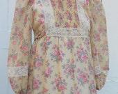 Vintage 70s Boho Hippie Dress Floral Feminine Small