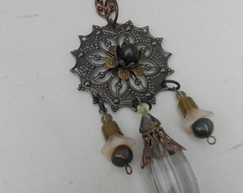 Art Nouveau Necklace Mixed Media Upcycled
