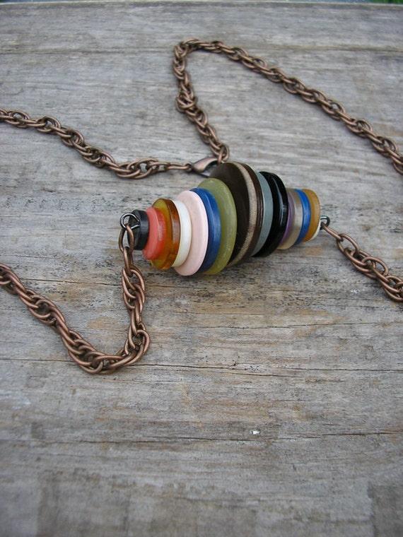 Vintage Button Necklace Multicolor Copper Chain