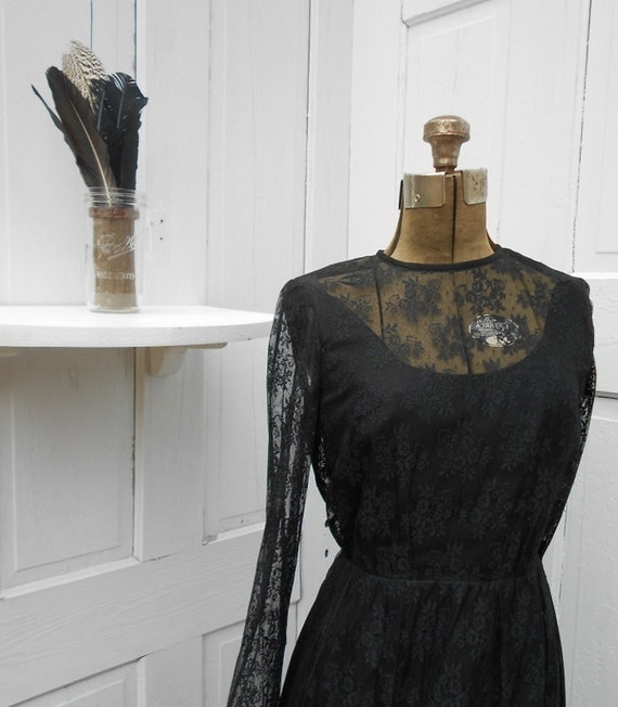 Vintage Black Lace Dress Small Saks Private Label Couture