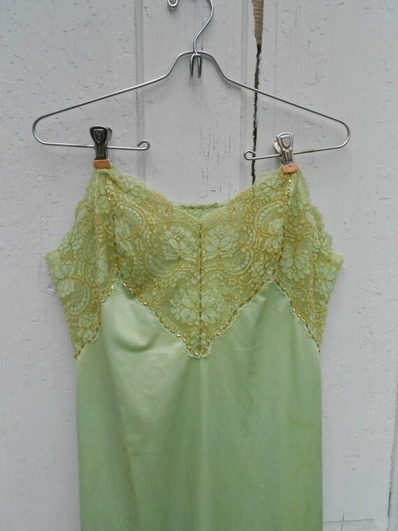 slip dress vintage hand beaded green gold vintage beads