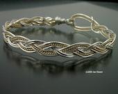 Three Strand Braided Silver Wire Bangle
