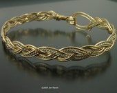 Three Strand Braided Gold Wire Bangle