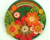 OVER THE RAINBOW FELT BROOCH WITH FREEFORM EMBROIDERY