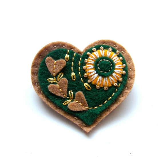 HEART felt brooch with freeform embroidery