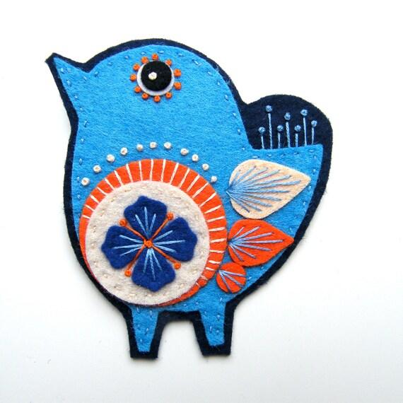 SCANDINAVIAN BIRD felt brooch with freeform hand embroidery