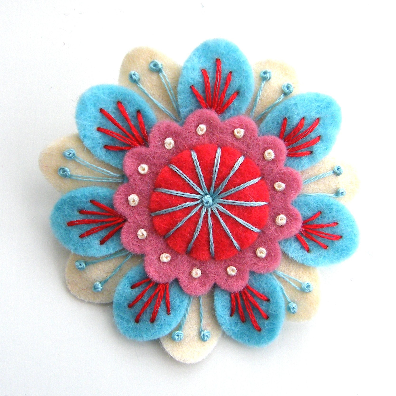 EMBROIDERED FELT ANENOME BROOCH
