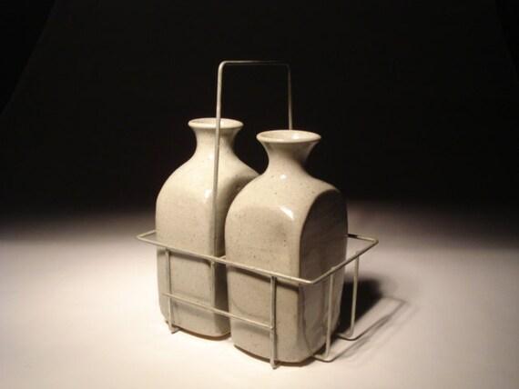 Stoneware Milk Bottles With Vintage Wire Crate