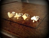 Playing cards - tiny heart, spade, club and diamond earrings
