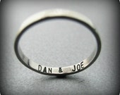 Secret message - custom stamped recycled sterling silver ring