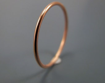 Recycled 14K rose gold ring - smooth skinny stacking ring (sizes 1 to 6.75)