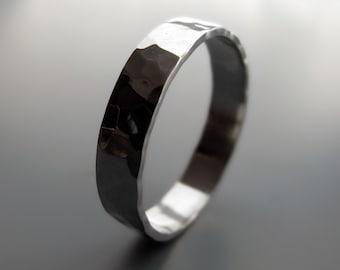 Palladium - 4mm wide hammered wedding band