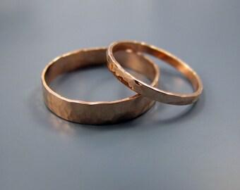 14K rose gold wedding band set (4mm and 2mm)
