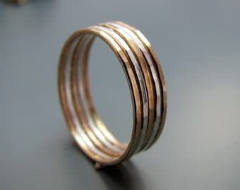Silver and gold filled hammered stacking rings - set of 5