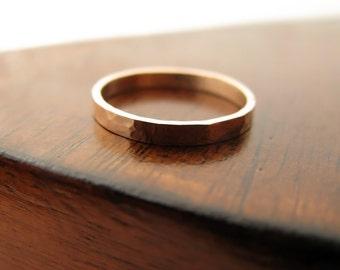 14K rose gold hammered wedding band - 2mm wide