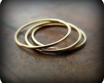 14K gold filled smooth skinny stacking rings - set of 3
