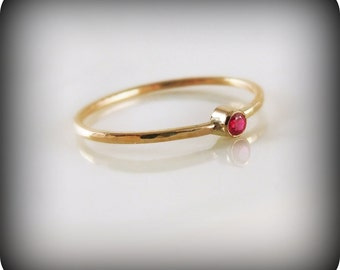 Ruby ring - recycled 14K gold ring with bezel-set stone