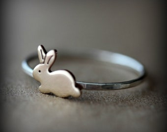Bunny ring - sterling silver and brass