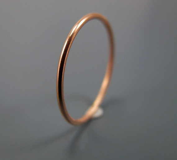 Recycled 14K rose gold ring - smooth skinny stacking ring (sizes 1 to 6.75)