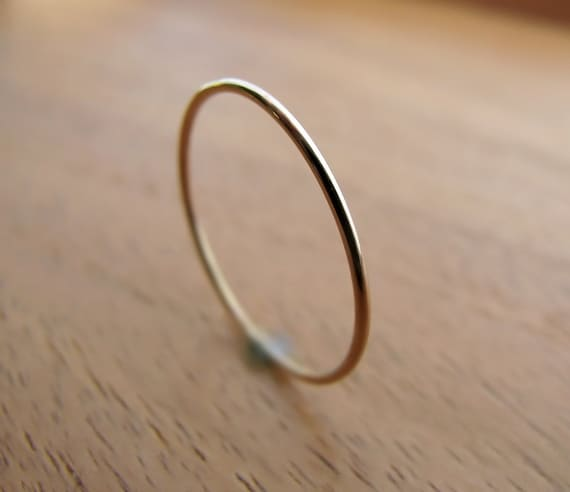 Recycled 14K yellow gold ring - extra skinny ring