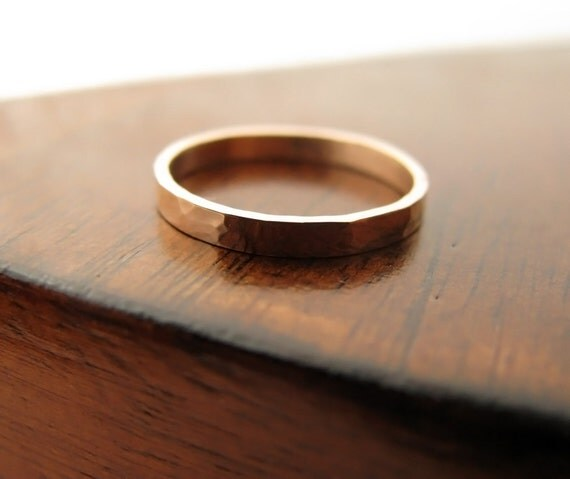 14K rose gold hammered wedding band - 2mm wide
