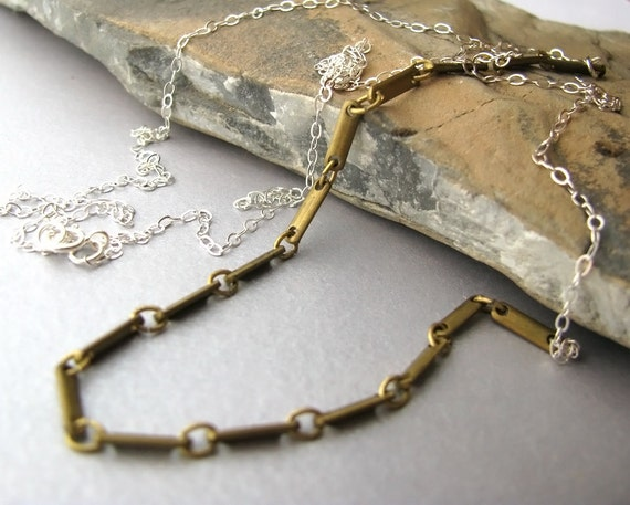Mixed metals - necklace - Cyber Monday Etsy Sale 20% off