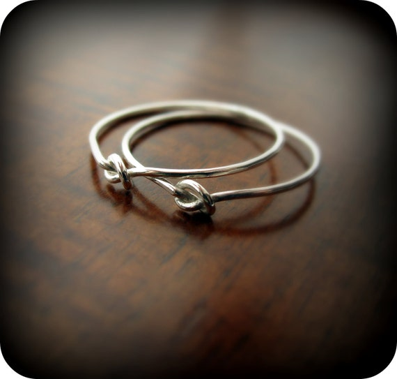 Friendship knot rings - best friends recycled sterling silver rings