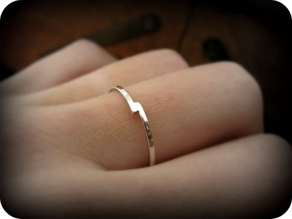 Bypass ring - recycled sterling silver ring - silver overlap stacking ring