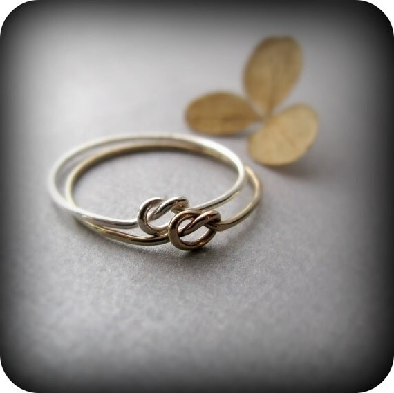 Friendship knot rings - 2 best friends rings in sterling silver and gold filled