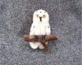 Needle Felted Wool Snowy Owl Pin