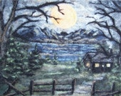 Needle Felted Wool Landscape Tapestry--Free Shipping