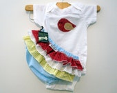 Girls Baby clothes - Onesie With Ruffled Bloomers with Red with Birds Gift Set 18 month