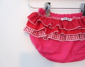 Strawberry Rhubarb Pie - Wrap around ruffle diaper covers