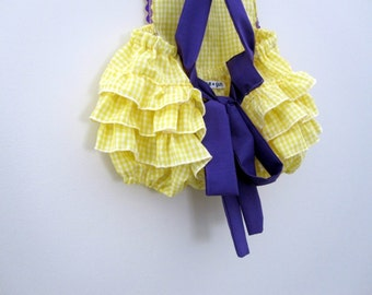 Retro Ruffler -Gingham  (chose your colors) - Jumper - Romper - Girl - Toddler - Photo Prop -