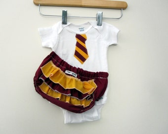 Wizard School Uniform - ruffle (or plain) diaper covers gift set