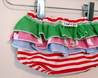 Christmas Candy - Wrap around ruffle diaper covers - baby girl childrens clothing