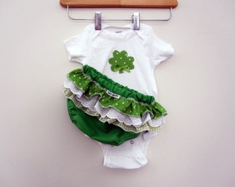 Onesie - Shamrock - Wrap around ruffle diaper covers gift set - Baby  - Outfit