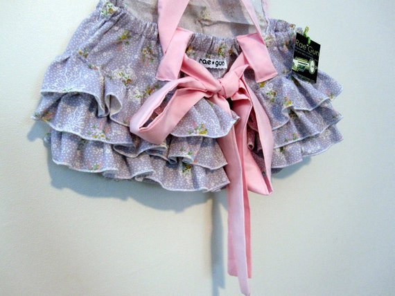 Baby and Toddler Jumper - Girl - Lavender Bouquets and  Bows - Ruffle Bum - Retro Ruffler - Rae Gun